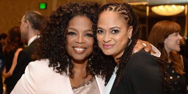 BEVERLY HILLS, CA - JANUARY 09:  Actress Oprah Winfrey (L) and director Ava DuVernay attend the 15th Annual AFI Awards Lunche