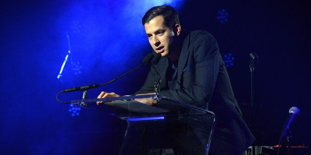 NEW YORK, NY - DECEMBER 11:  Mark Ronson speaks at the Other Ball fundraiser sponsored by Topshop Topman for Arms Around the