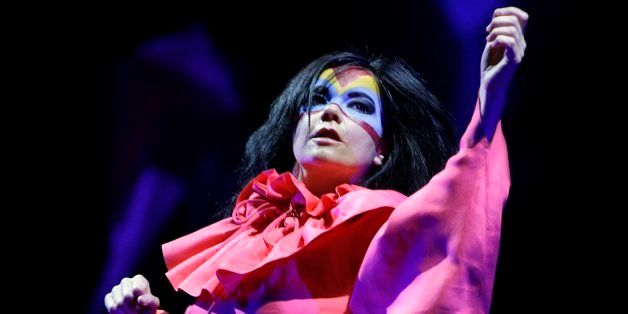 Icelandic artist Bjork performs on the Chapiteau stage, during the Paleo Festival in Nyon, Switzerland, Wednesday, 25 July 20