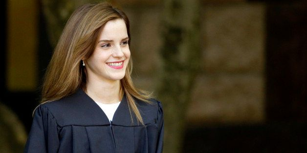 Actress Emma Watson walks between buildings following commencement services on the campus of Brown University, Sunday, May 25