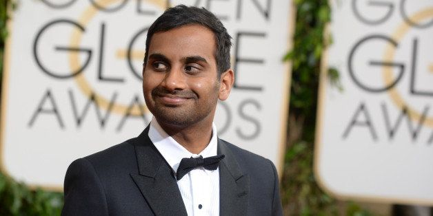 Aziz Ansari arrives at the 71st annual Golden Globe Awards at the Beverly Hilton Hotel on Sunday, Jan. 12, 2014, in Beverly H