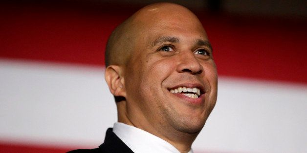 Sen. Cory Booker, D-N.J. addresses supporters during an election night victory gathering, Tuesday, Nov. 4, 2014, in Newark, N