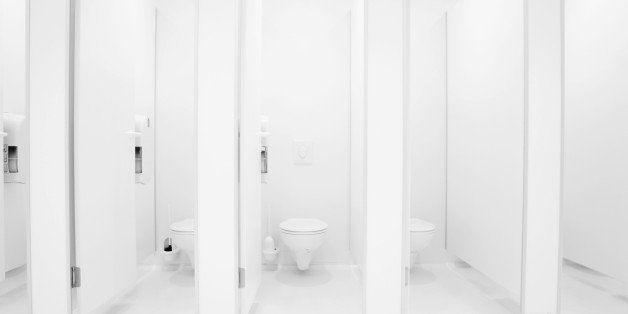 a clean new public toilet room