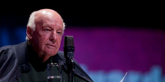 Journalist and Writer Eduardo Galeano reads a passage from one of his books during an event organized by the the National Aut