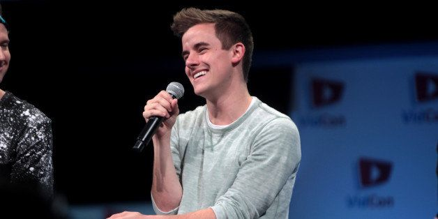 Connor Franta speaking at the 2014 VidCon at the Anaheim Convention Center in Anaheim, California.   Please attribute to Ga