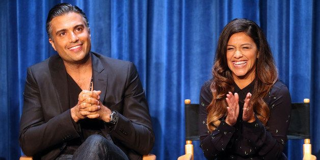 BEVERLY HILLS, CA - SEPTEMBER 06:  Actor Jaime Camil (L) and actress Gina Rodriguez speak during The Paley Center for Media's