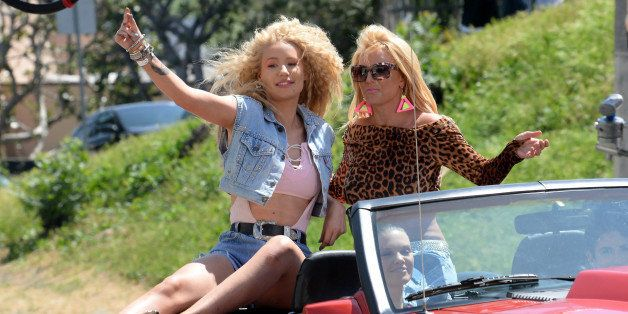 LOS ANGELES, CA - APRIL 09: Iggy Azalea and Britney Spears are seen on set of their music video on April 09, 2015 in Los Ange