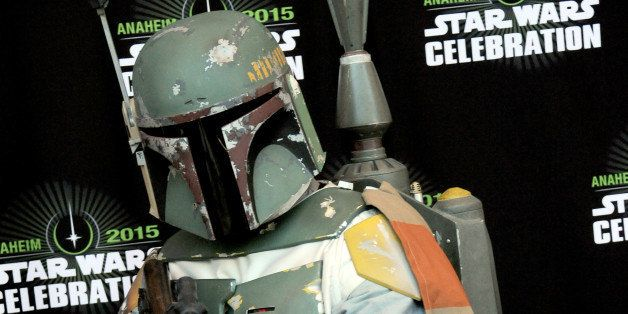 ANAHEIM, CA - APRIL 16:  Cosplayer dressed as Bounty Hunter Boba Fett on Day Four of Disney's 2015 Star Wars Celebration held