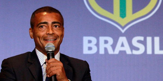 FILE - In this Dec. 23, 2011 file photo, former soccer star Romario speaks at a news conference in Rio de Janeiro, Brazil.  B