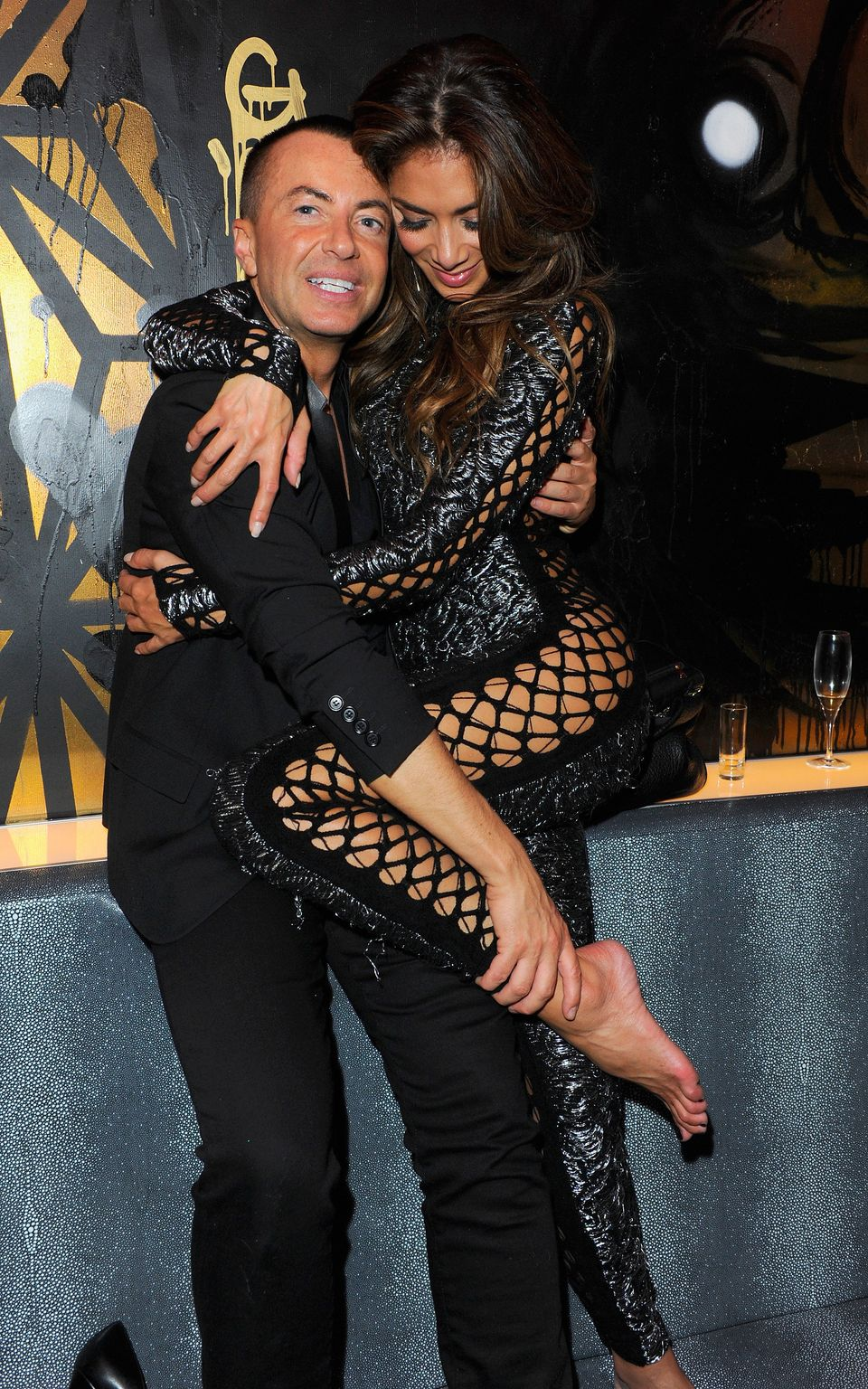 Julien Macdonald and Nicole Scherzinger attend the first anniversary party of Sushi Samba at Sushi Samba on November 12, 201
