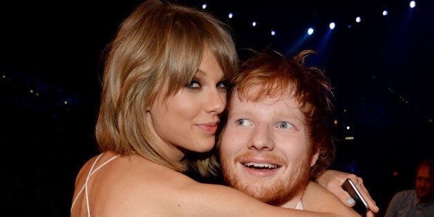 LAS VEGAS, NV - MAY 17:  Recording artists Taylor Swift (L) and Ed Sheeran pose during the 2015 Billboard Music Awards at MGM