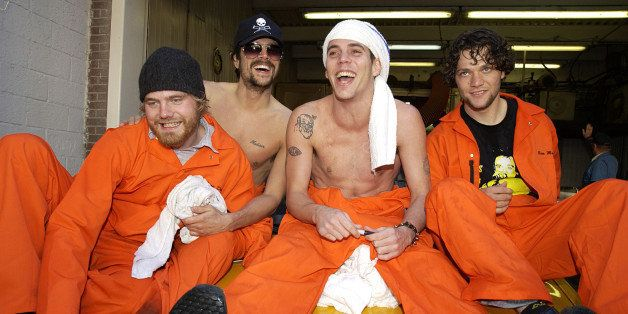 Bam Margera, Johnny Knoxville, Steve-O and Ryan Dunn (Photo by Theo Wargo/WireImage)
