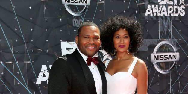 LOS ANGELES, CA - JUNE 28:  Co-hosts Anthony Anderson (L) and Tracee Ellis Ross attend the 2015 BET Awards at the Microsoft T