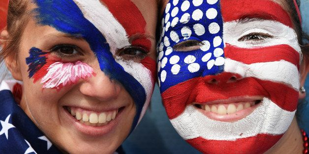 MONTREAL, QC - JUNE 30:  The painted faces of a fans of USA prior to the FIFA Women's World Cup Semi Final match between USA