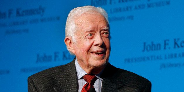Former President Jimmy Carter speaks during a forum at the John F. Kennedy Presidential Library and Museum in Boston, Thursda