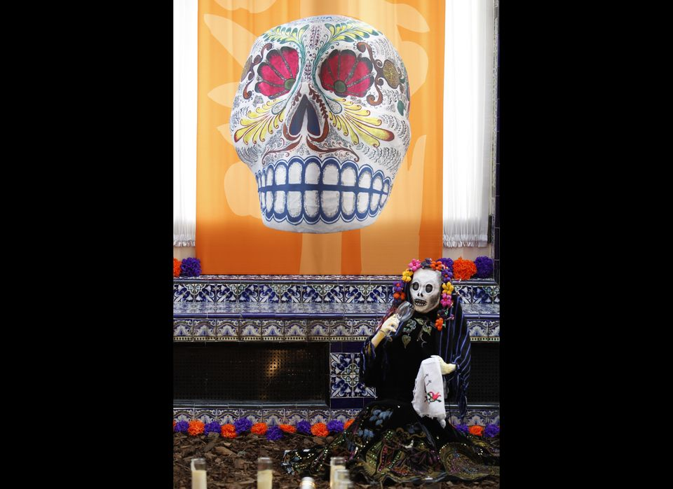 A skeleton features in an altar assembled for a Day of the Dead exhibition at the Mexican Cultural Institute in Washington.
