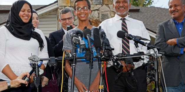 IRVING, TX - SEPTEMBER 16: 14-year-old Ahmed Ahmed Mohamed, surrounded by his family, speaks during a news conference on Sept