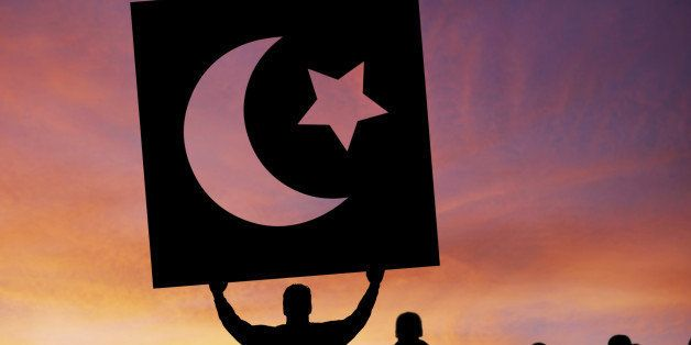 arab spring protestors in silhouette with crescent moon and star sign, square frame (XXXL)