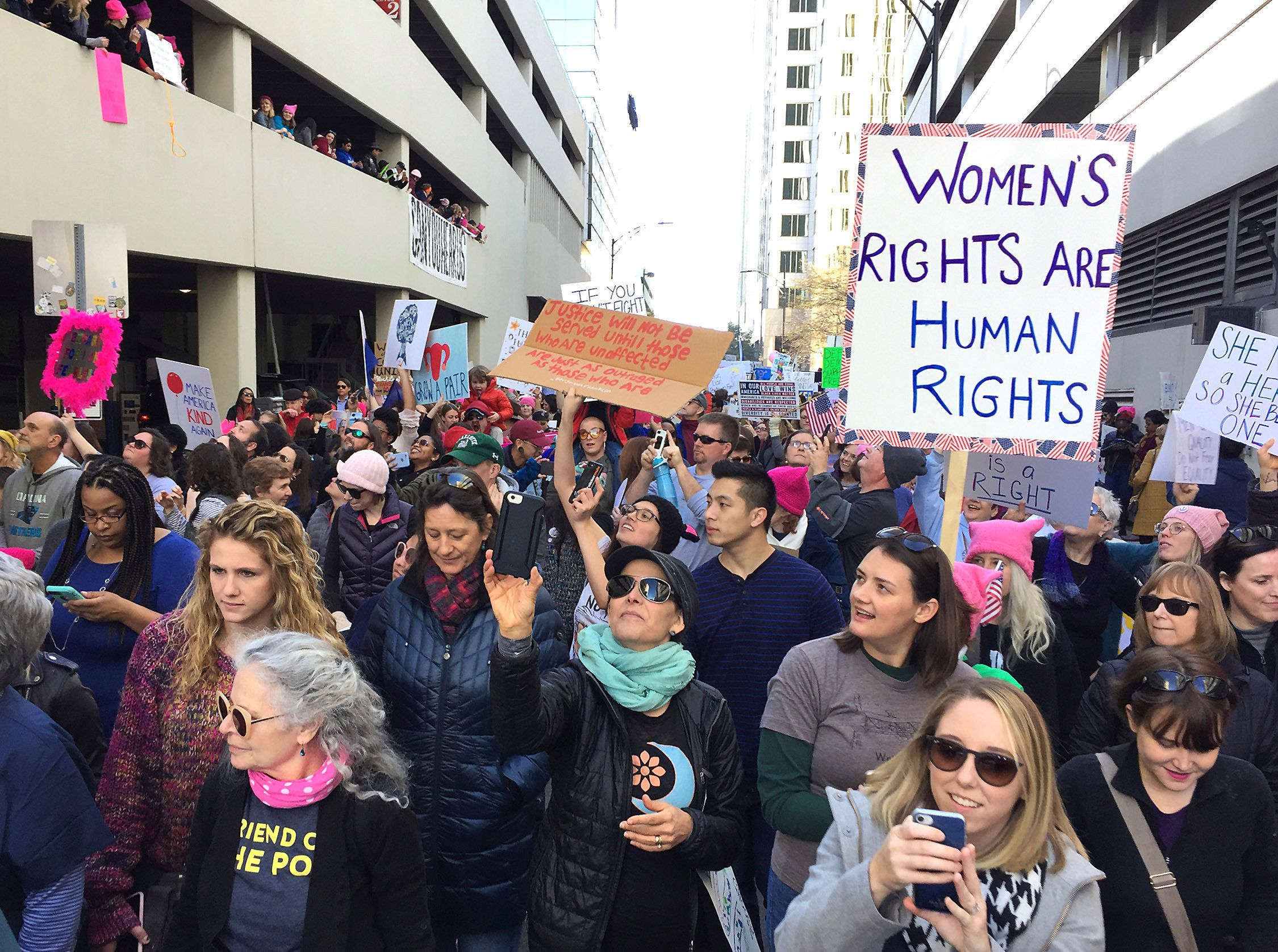 The Women's March in Charlotte, North Carolina, on Jan. 20, 2018.