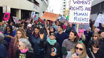 People attend the Women's March in Charlotte, N.C., Saturday, Jan. 20, 2018. On the anniversary of President Donald Trump's inauguration, people participating in rallies and marches in the U.S. and around the world Saturday denounced his views on immigration, abortion, LGBT rights, women's rights and more. (Jeff Siner/The Charlotte Observer via AP)