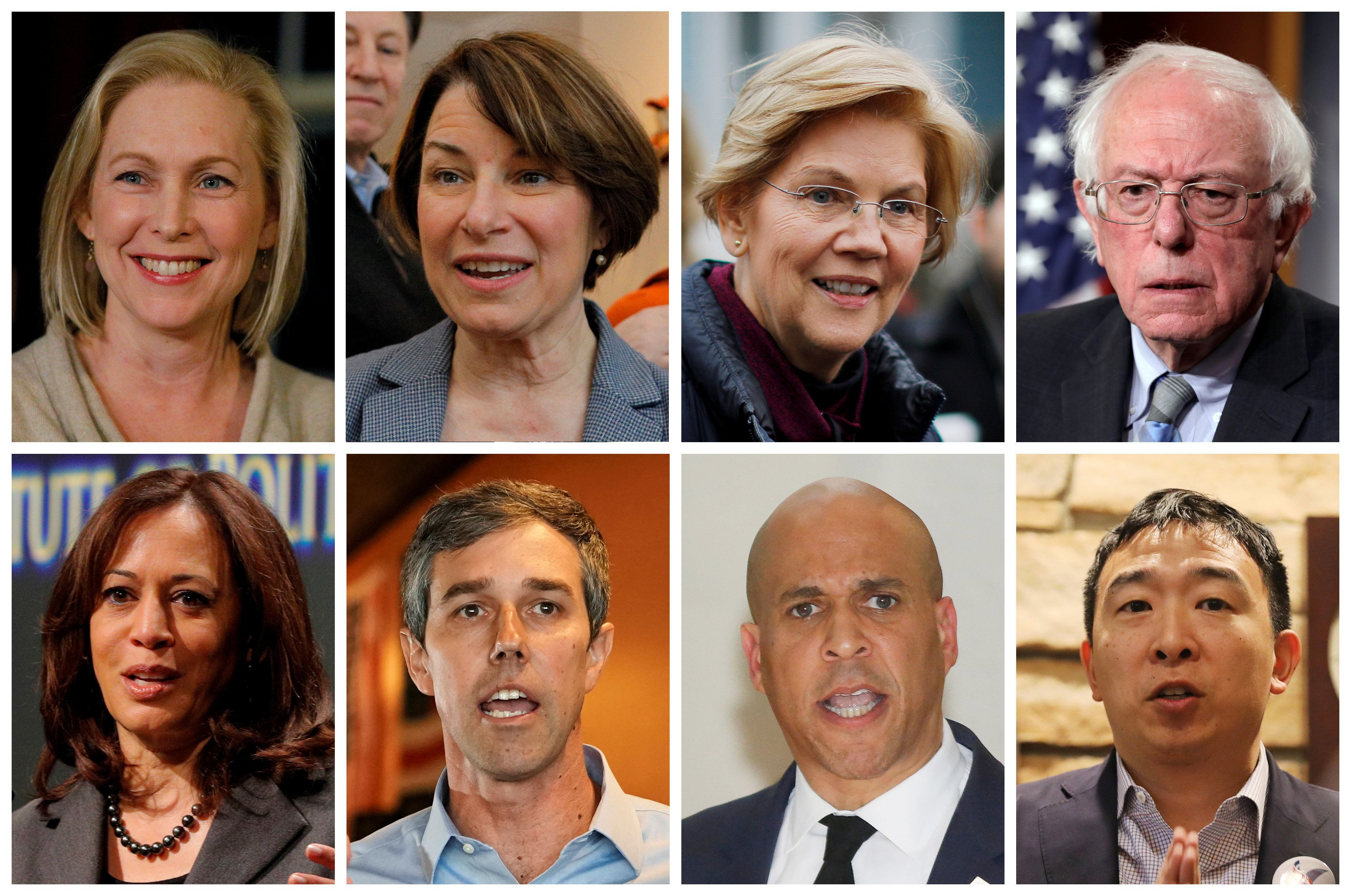 2020 Democratic presidential candidates are seen in a combination of file photos (L-R top row): U.S. Senators Kirsten Gillibrand, Amy Klobuchar, Elizabeth Warren, Bernie Sanders, (L-R bottom row): U.S.Senator Kamala Harris, Former Texas congressman Beto O'Rourke, U.S. Senator Cory Booker and Democratic presidential candidate Andrew Yang. REUTERS/Files