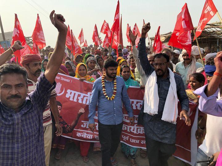 Kanhaiya Kumar during a campaign in Begusarai town of Bihar.