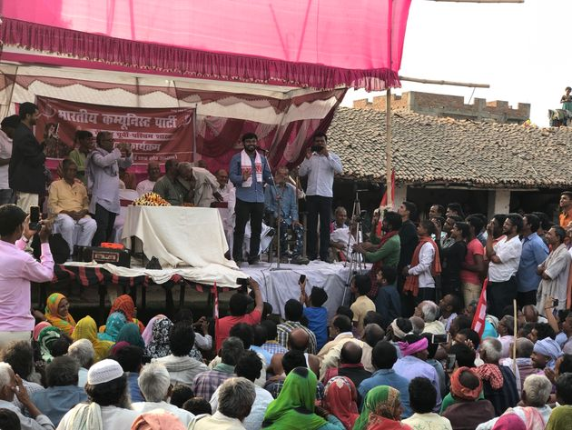 Kanhaiya Kumar addresses a public meeting in Veerpur village of
