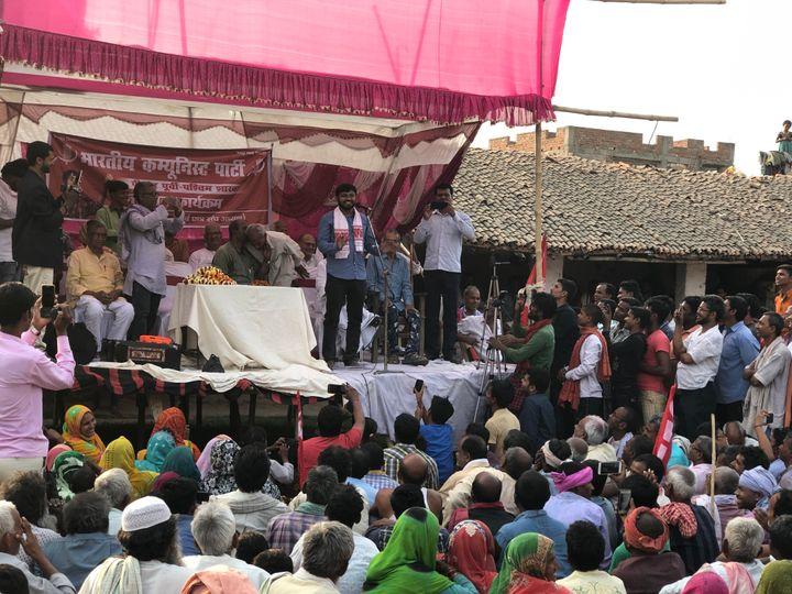 Kanhaiya Kumar addresses a public meeting in Veerpur village of Begusarai