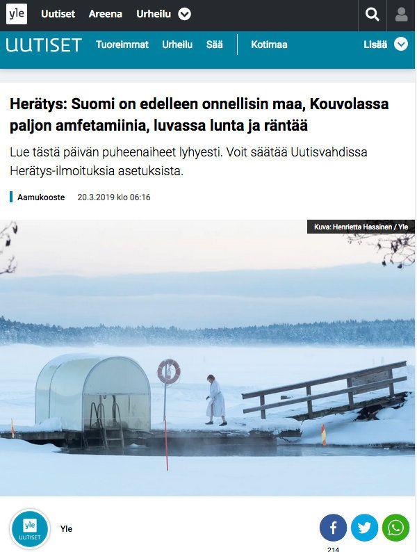 핀란드, 세계에서 가장 행복한