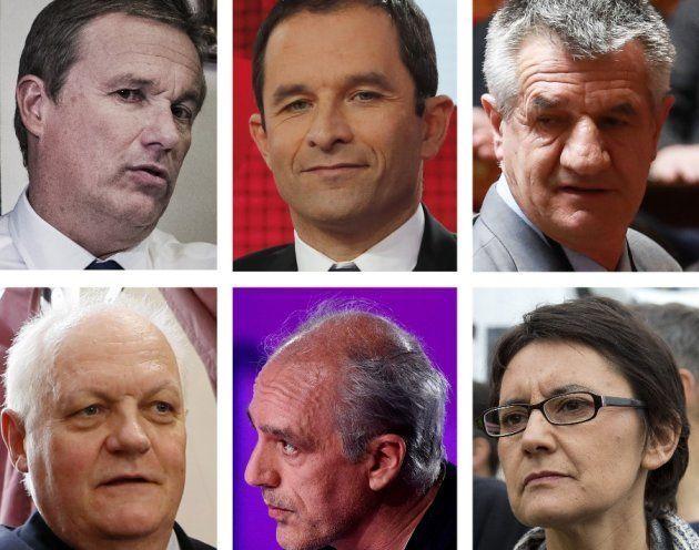 NIcolas Dupont-Aignan, Benoît Hamon, Jean Lassale, François Asselineau, Philippe Poutou et Nathalie
