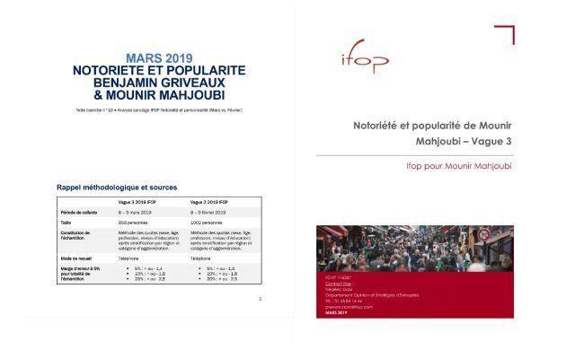 A gauche, la note d'analyse produite par l'équipe de Mounir Mahjoubi, à droite le sondage Ifop réalisé...