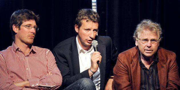 Hier alliés, aujourd'hui adversaires: Pascal Canfin, Yannick Jadot et Daniel Cohn-Bendit en 2009 pour...