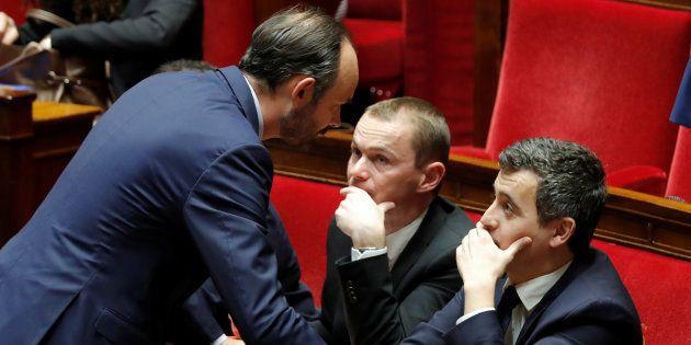 Edouard Philippe, Gérald Darmanin et Olivier Dussopt à l'Assemblée nationale en janvier 2018
