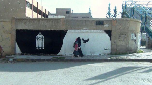 Une des œuvres de Milad Amin, dans une rue de