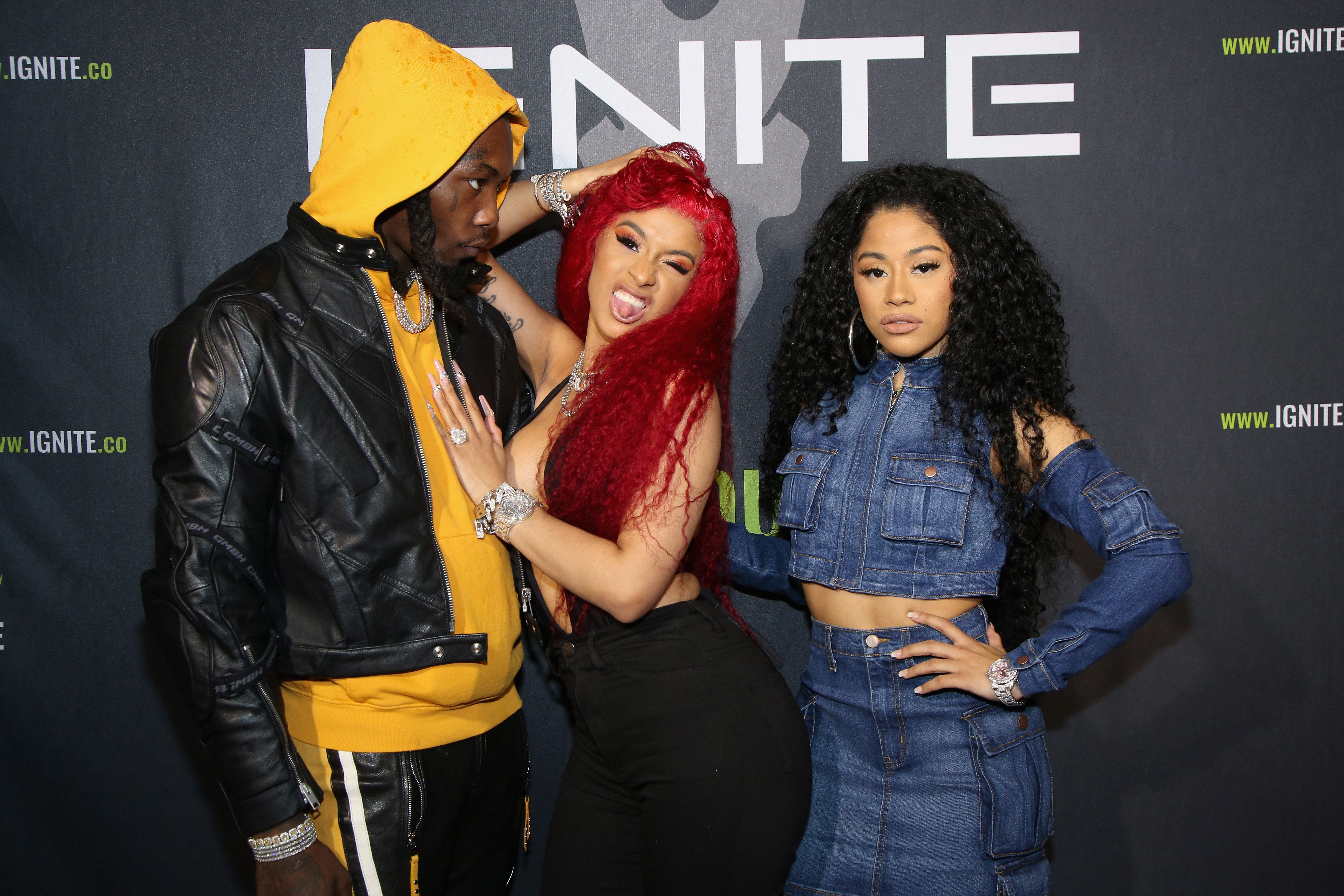 BEL AIR, CA - FEBRUARY 13:  Offset, Cardi B and Hennessy Carolina attend Ignite's Angels and Devils Pre-Valentine's Day Party on February 13, 2019 in Bel Air, California.  (Photo by Randall Michelson/Getty Images for Ignite)