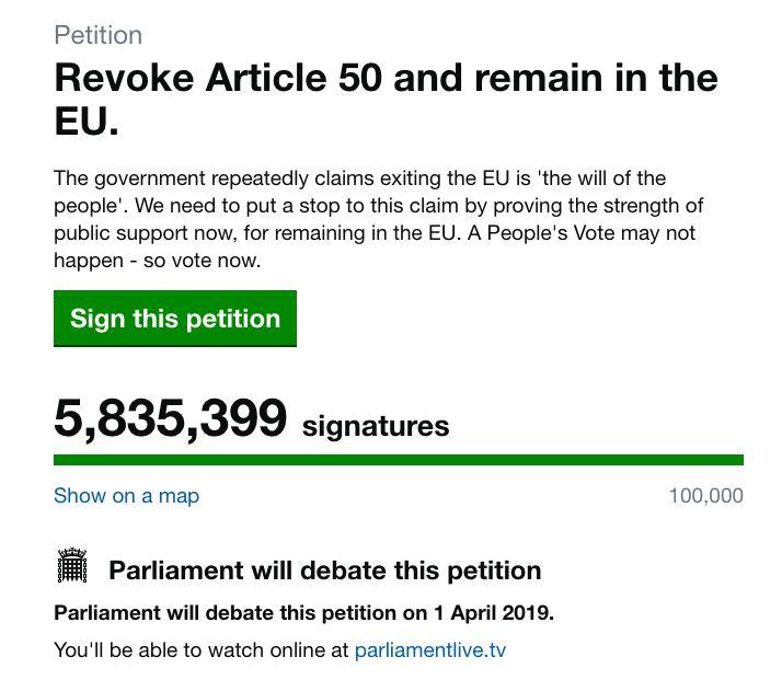 66354670463b Cancel Brexit  Petition Amasses Record 5.8 Million Signatures