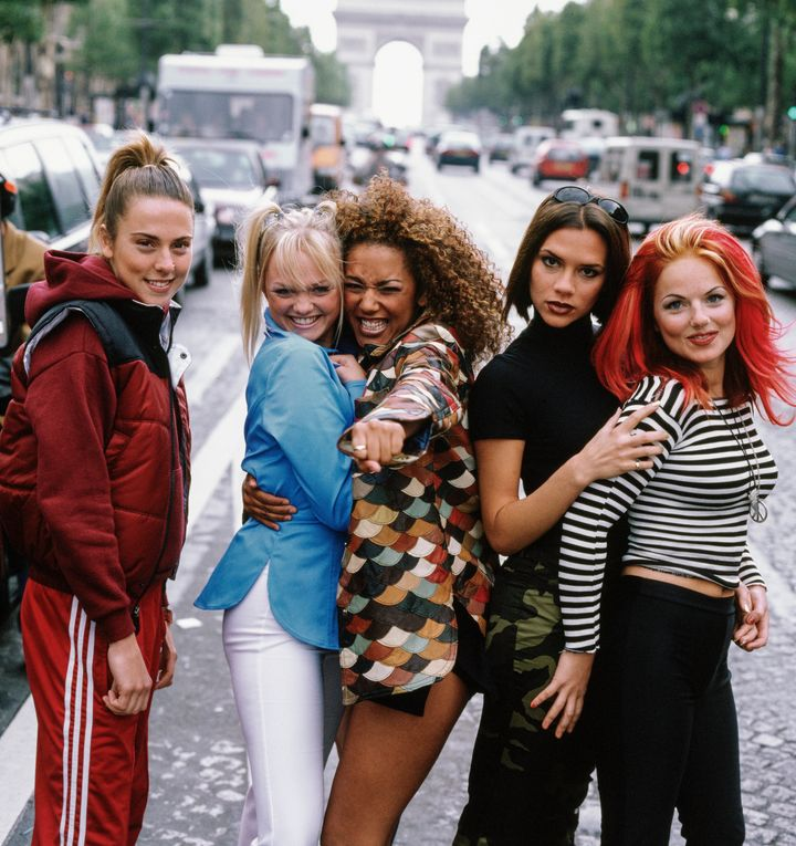 British pop group The Spice Girls, Paris, September 1996. Left to right: Melanie Chisholm, Emma Bunton, Melanie Brown, Victoria Beckham and Geri Halliwell aka Sporty, Baby, Scary, Posh and Ginger Spice. (Photo by Tim Roney/Getty Images)