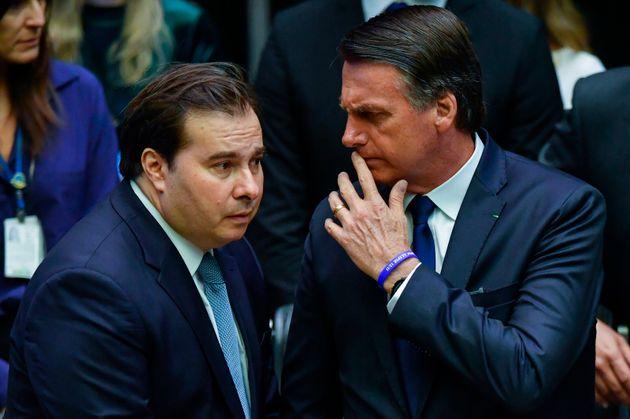 Bolsonaro e Rodrigo Maia, presidente da Câmara, quando a relação entre os dois ainda...