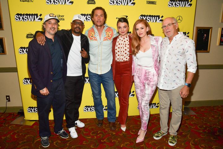 Harmony Korine, Martin Lawrence, Matthew McConaughey, Stefania LaVie Owen, Isla Fisher and Jimmy Buffett at the South by