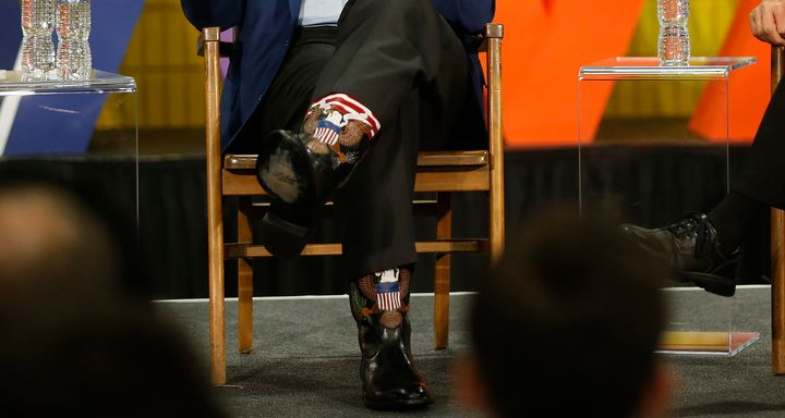 Former California Gov. Arnold Schwarzenegger also wore the custom boots at the first New Way California Summit in Los Angeles on March 21, 2018.