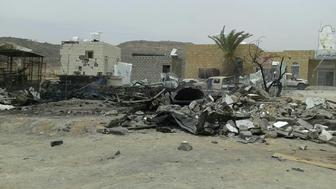 The damage after a missile struck a gas station near the entrance to Kitaf rural hospital 100 km from the city of Saada, Yemen March 26, 2019 is pictured in this image obtained from social media on March 27, 2019. Save The Children via REUTERS   ATTENTION EDITORS - THIS IMAGE HAS BEEN SUPPLIED BY A THIRD PARTY. MANDATORY CREDIT. NO RESALES. NO ARCHIVES