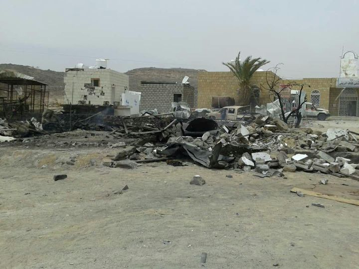 The damage after a missile struck a gas station near the entrance to Kitaf rural hospital 100 km from the city of Saada, Yeme