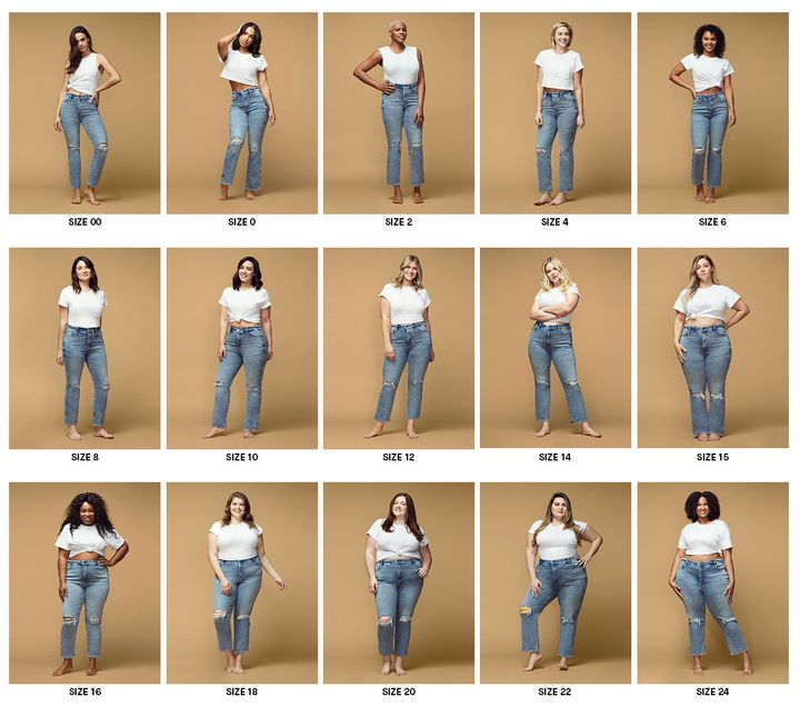 Good American's new sizing tool shows 15 sizes on 15 different models so customers can find the right style, fit and size.