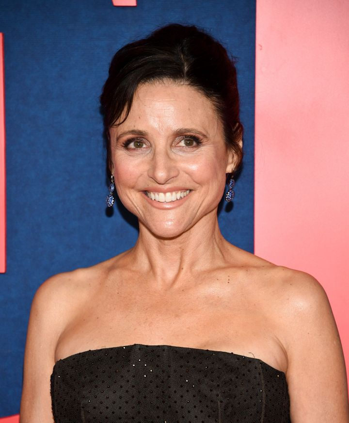 "Julia Louis-Dreyfu, who plays Selina Meyer on HBO's ""Veep,"" at the premiere of the show's final season."