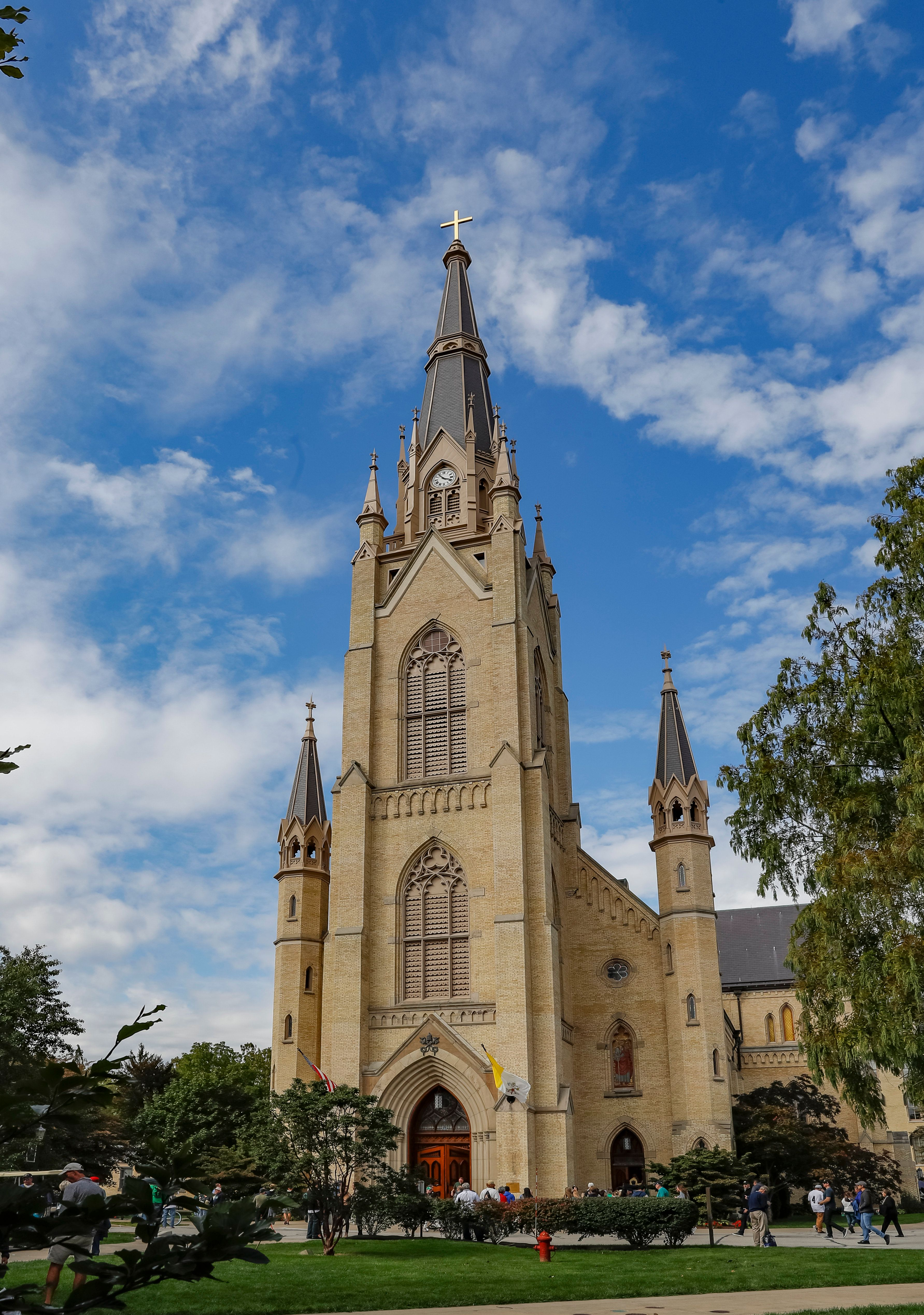SOUTH BEND, IN - SEPTEMBER 29: The Basilica of the Sacred Heart is seen on the campus of Notre Dame University before the Notre Dame Fighting Irish game against Stanford Cardinal at Notre Dame Stadium on September 29, 2018 in South Bend, Indiana. (Photo by Michael Hickey/Getty Images)