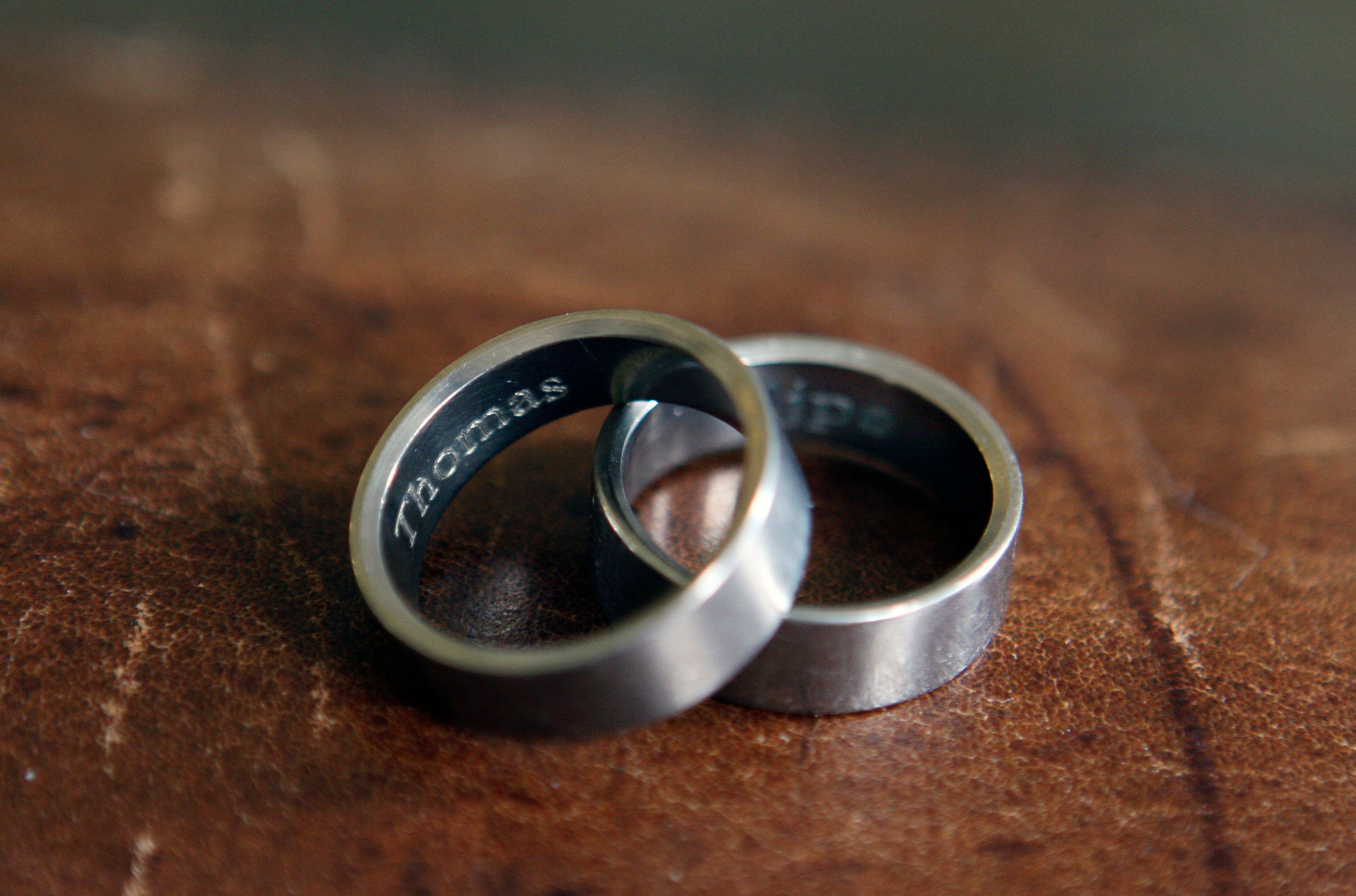 A gay couple's wedding rings sit on a table in their Memphis, Tennessee, home in March 2015, just three months before the Sup