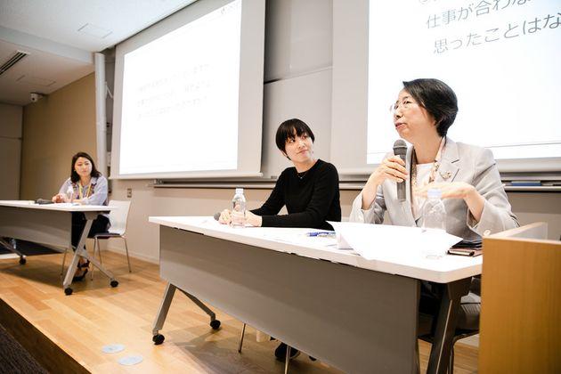 (右から)髙橋裕子さん、江澤身和さん、ファシリテーターの新居日南恵さん