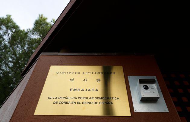 주스페인 북한 대사관의 푯말.