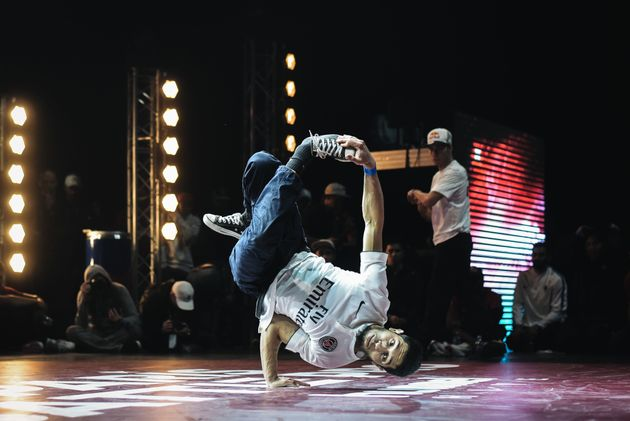 A dancer performs during the Breakdance contest 'Paris Battle Pro' at La Seine Musicale in Paris on February...