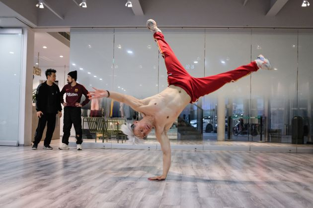 This photo taken on March 18, 2019 shows Wang Shenjiong, who was head coach of China's national breakdancing...